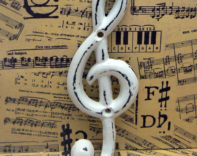 Treble Clef Music Note Hook Cast Iron Musical Symbol Shabby Elegance White Towel Coat Jewelry Keys Pet Leash Rustic Woodland Wall Hook