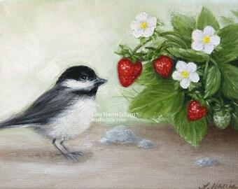 CUSTOM Summer Chickadee in Strawberries....Mini Painting in Oil by LARA 5x7 Bird Nature Still Life