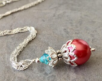 Coral Pearl Necklace with Swarovski Lt Turquoise Crystals, Coral Wedding Jewelry, Bridesmaid Necklaces, Coral and Aquamarine, Sterling Chain