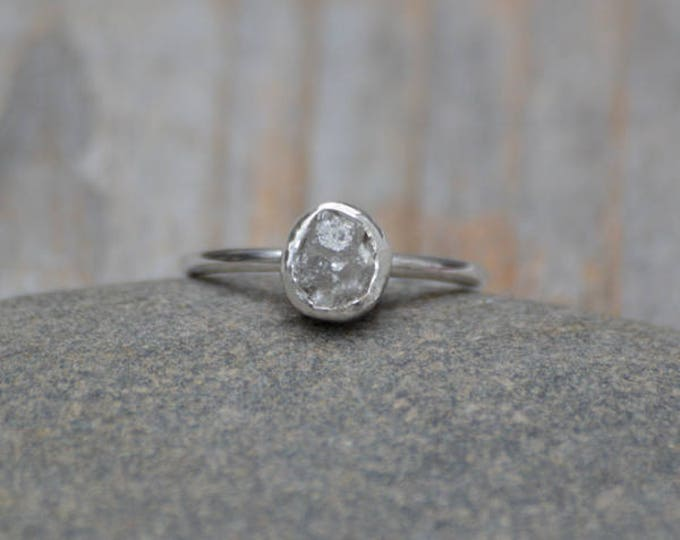 Raw Diamond Engagement Ring, 1ct Light Grey Raw Diamond Ring, Handmade In England