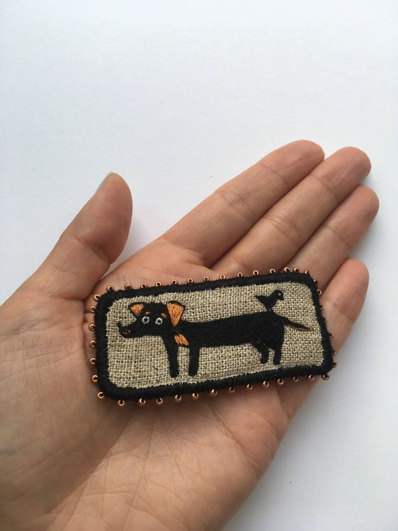Brooch with Dachshund - The long dog - Funny Dogs - collection, hand embroidered textile dog jewelry