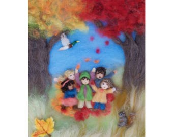 Autumn Leaves Wool Painting Illustration Giclee Print from Seasons of Joy, Signed