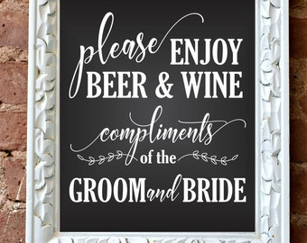 Beer and Wine sign, reception bar decal, wedding decal, bride and groom, chalkboard decal, rustic, farmhouse style, make your own sign, DIY