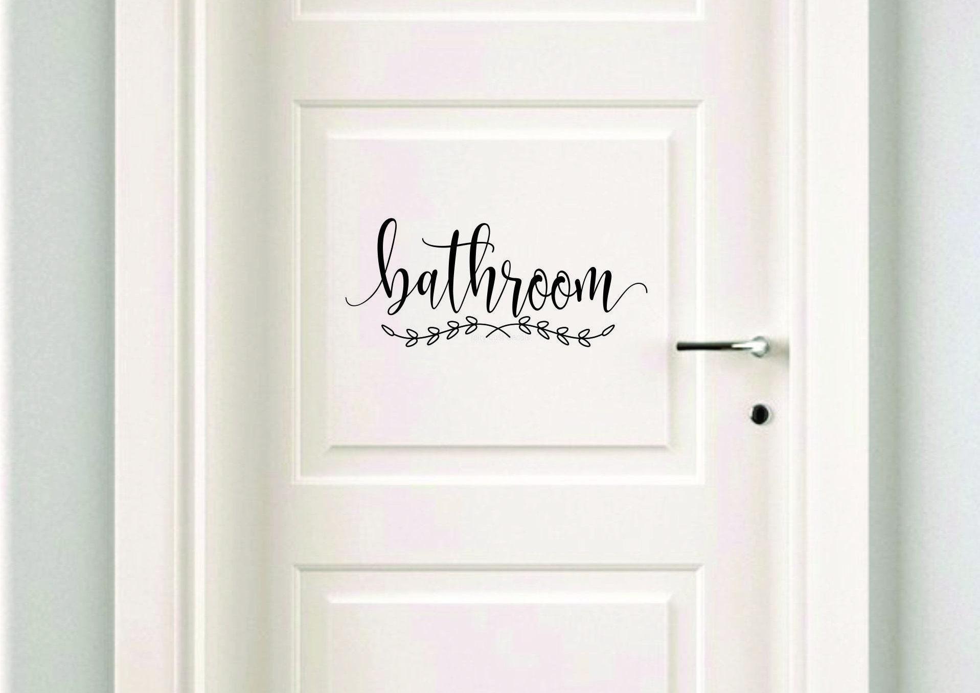 Bathroom decal make your own sign door decal bath door
