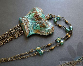 Crown Necklace - Dry Gulch Beads Crown, patina, altered, antiqued brass, long necklace