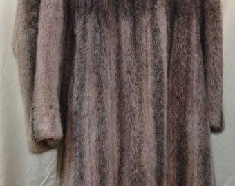 """1980's, 38"""" bust, pink/lilac tinted full length mink coat."""
