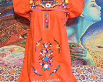 Mexican Dress, Embroidered, Orange, Autumn, Fiesta, Frida Kahlo, size S