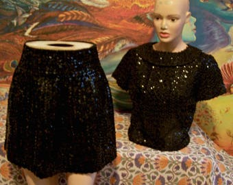 SEQUIN Dress, set, Sequin Top & Skirt, Holiday, New Years, Cocktail dress, Black, size S/M