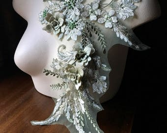 Green 3D Applique #2 , Beaded and Embroidered for Lyrical Dance, Ballet, Fairy Costumes,  Couture Gowns