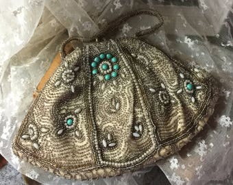 Intricately Beaded German Evening Bag Purse No Label 1930's 1940's Turquoise Faux Pearl Cabochons Seed Beads Beaded Handle Shabby Chic
