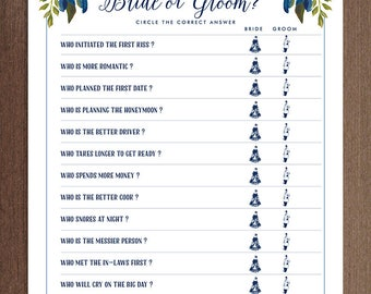 Guess Who Bride or Groom Game | Printable Bridal Shower Game | He Said She Said Game | DIY Instant Download | Updated Questions