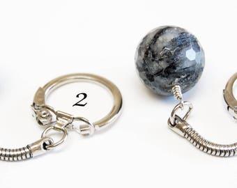 Tourmalinated Quartz Keychain, Easy Open Keychain, Tourmilated Quartz Flexible Keychain, Rock Hound Gift, Faceted Quartz Sphere, Guy Gift