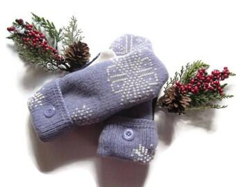 Felted Wool Mittens - Fleece Lined Wool Mittens - Purple Cream Wool Mittens - Recycled Wool Mittens Upcycled Wool Mittens - Repurposed Wool