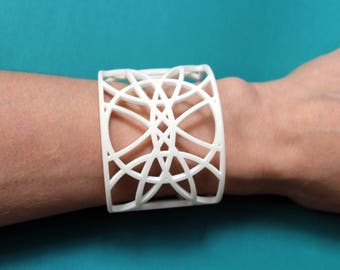 3D Printed Cuff. White Bracelet. Large Cuff. Lace Bracelet. 3D printed Bracelet. White jewelry. Summer jewelry. Gifts for her. Gift for teen