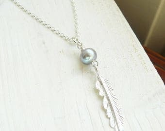 Silver Feather Necklace with Birthstone