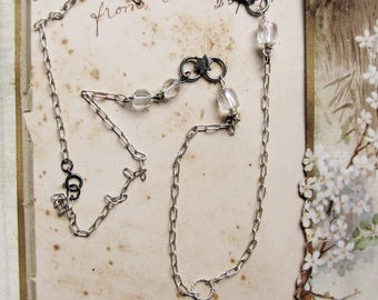 patchwork necklace of vintage chain - silver stars, facet cut crystal beads - assemblage jewelry supply
