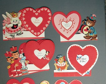 vintage 1960s valentine's day greeting cards with cute animal and people characters and flock finish hearts - ONE card per price