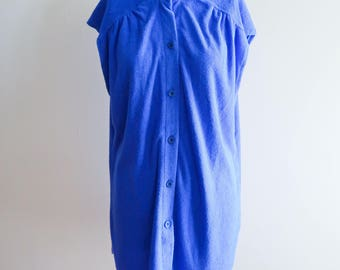 Royal blue 70s / 80s terry cloth beach cover up dress sz. Small / Medium