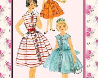 Vintage 1958-TWIRL DRESS-Sewing Pattern-3 Styles-Full Gathered Skirt-Rick-Rack-Ruffle-Lace-Trim-Fun Patch Pockets-Shaped Collar-Size 10-Rare