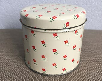 Vintage Candy Tin Valleybrook Farms Floral Pattern 80s