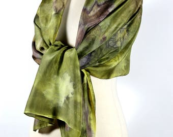 Natural Olive Green Eco-print Scarf