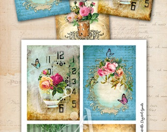 """Printable download ANTIQUE STYLE VIGNETTES No.5, Digital Sheet 5""""x3.5"""" size images, greeting cards, scrapbooking, decoupage Paper by ArtCult"""