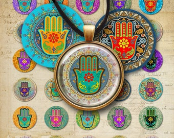 1 inch (25mm) + 30 mm images, Printable download HAMSA LUCKY AMULET Digital Collage Sheets for circle pendants, bezel findings trays magnets