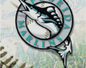 MLB Florida Marlins Baseball Counted Cross Stitch Pattern