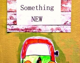 "VW Bug Car 8.5"" x 11"" Painting Mixed Media Teacher Gift Wonder Original Flat Canvas Start Something New Inspiration  Teal Orange FREE SHIP"