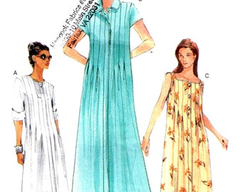 Sewing Pattern Vogue 7019 Loose Fitting A Line Dress Maxi Mid Knee Length Collared Inverted Pleat Tucks Size  8, 10, 12 Cut