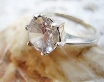 Vintage rock crystal sterling ring, Vintage rock crystal 925 sterling ring, Vintage 1960s sterling and rock crystal cocktail ring