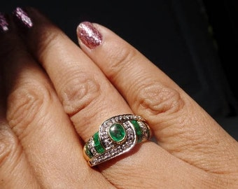 Emerald Diamond 18K Yellow White Gold Vtg Ring 750 Green Clear Gemstone April May Birthstone Statement Estate Fine Jewelry