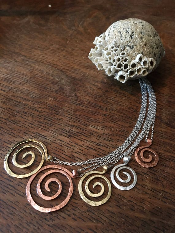 Small Rugged Spiral Pendant Necklace in Copper, Bronze or Sterling