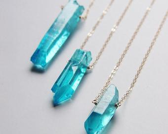 SALE Aura Quartz Gold Necklace OOAK