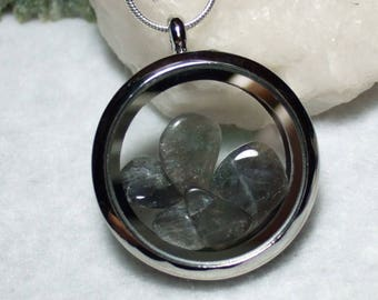 Natural Nain Labrador Labradorite Locket Necklace with Sterling Silver Chain Made in Newfoundland Blue Flash