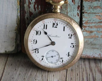 Antique Hamilton 1900 Gold Filled Poket Watch by avintageobsession on etsy...FREE USA Shipping