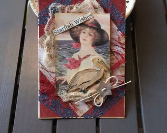 Vintage-themed Beach Card - Old Fashioned Beach Card - Seaside Theme Card - Summer Birthday Card
