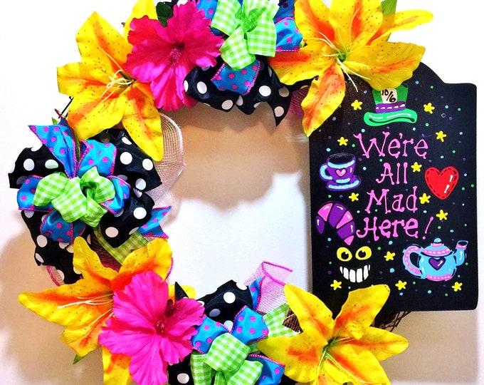 We're All Mad Here Alice in Wonderland - Welcome Grapevine Door Wreath