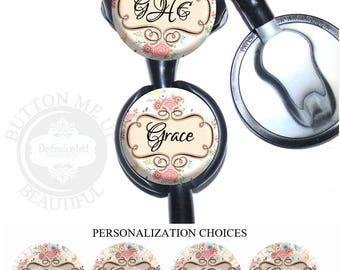 """1 1/2"""" Design Stethoscope ID Tag - Personalized  Pink and Cream Floral Nurse Littmann Identification (A384)"""