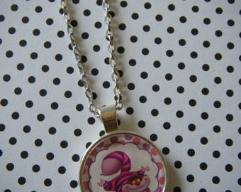 Cheshire Cat Alice in Wonderland round silver pendant necklace