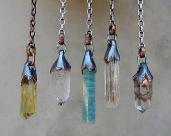 Pendulum, Necklace, or Single Dangle Earring, Yellow Rainbow Apatite, Clear Quartz, Aquamarine, Inclusion Scapolite, Amphibole Phantom Quatz