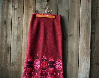 Wool Skirt Deep Red and Pink Size 8 Vintage From Nowvintage on Etsy