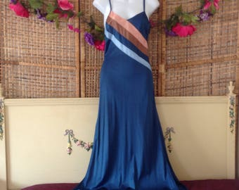 Vintage 70's Interlude Nylon Nightgown Strappy Silky Navy Brown Stripes Robe XS