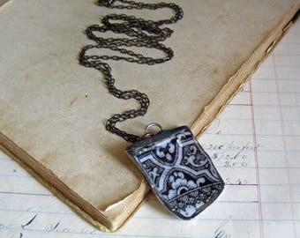 Broken China Soldered Necklace, Black Transferware Ironstone Recycled Jewelry