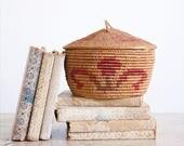 Vintage Coiled Basket / Woven Native Basket / Lidded Basket / Boho Decor