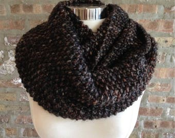 Seed Stitch Infinity Scarf Cowl Luxe Merino Wool Chunky Yarn