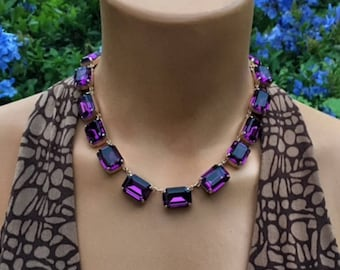 Swarovski Crystal Octagon Anna Wintour Style Necklace Amethyst Rose Gold Finish, Big Stones Necklace, Rhinestone Necklace, 18x13mm