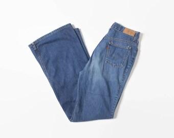 Vintage 70s Levi's BELL BOTTOMS / 1970s Dark Wash Blue Denim Bells High Waist Jeans S