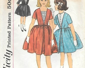 Simplicity 4242 1960s Girls Party Dress with Dickey and Full Skirt Vintage Sewing Pattern Size 10 Communion Dress
