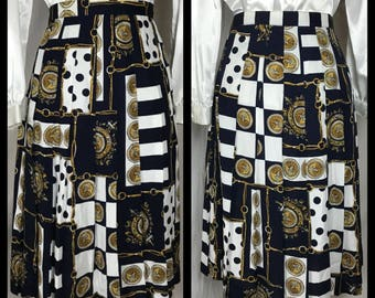 1980s Nautical Navy, White and Gold Nautical Print Skirt by Norton McNaughton - Size 12